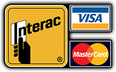 We accept Cash, Visa, Mastercard, and Interac.